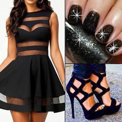 2014 Siyah Transparan Mini Abiye Elbise Modeli Kombini