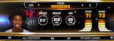 NBA 2K13 Hawks Lucas Nogueira - Round 1 16th Overall