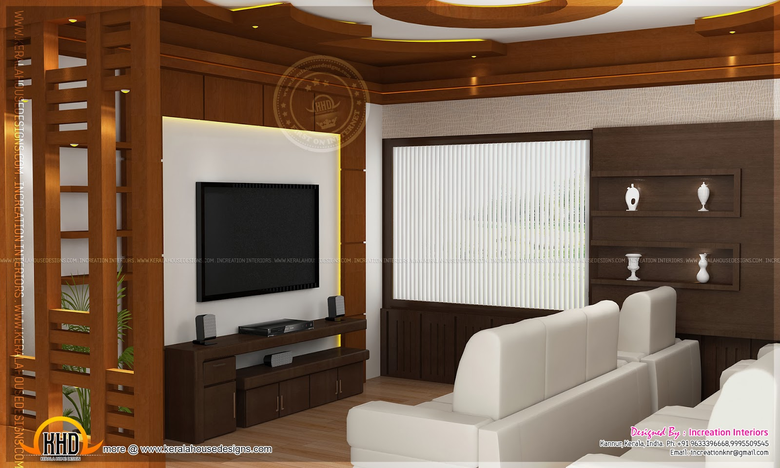 House interior design kannur kerala home kerala plans for Living room interior in kerala