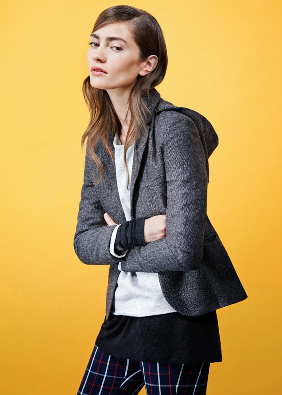 grey hooded blazer