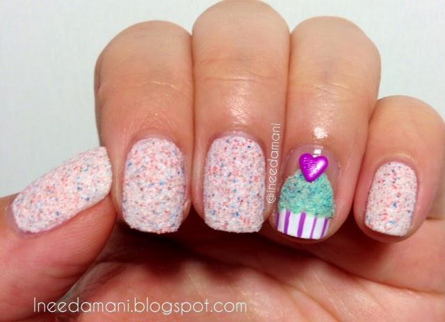 cupcake heart nails
