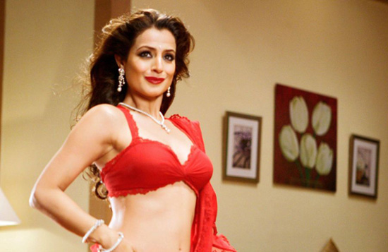 Bollywood Actress - Amisha Patel Hot in Red Saree