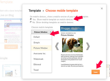 Mobile Template untuk blogger - blogspot