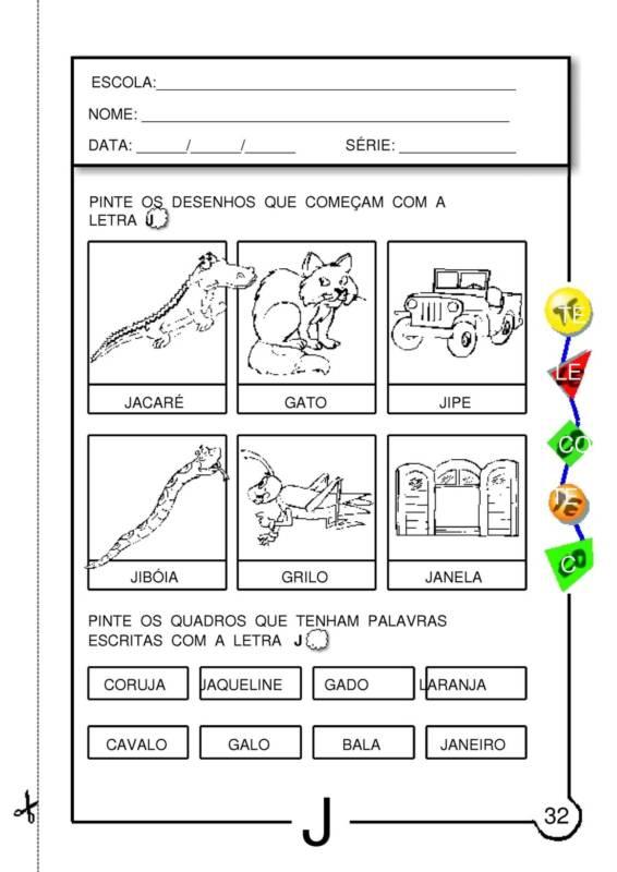 Well-known Blog Professor Zezinho : Atividades com a letra J SD28