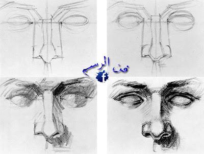 مراحل رسم الأنف