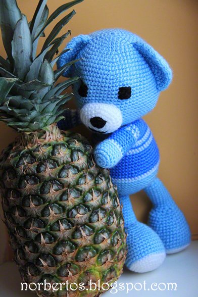 Crochet blue bear with pineapple