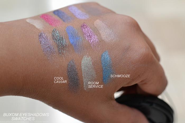 Buxom Eyeshadow Bar Single Eyeshadows Refills Swatches Cool Caviar Room Service Schmooze