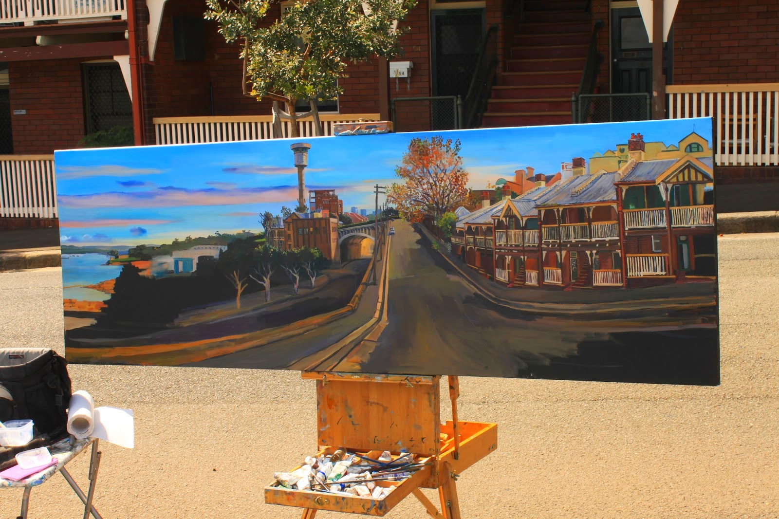plein air oil painting of heritage terraces in Millers Point by Jane Bennett, industrial heritage artist