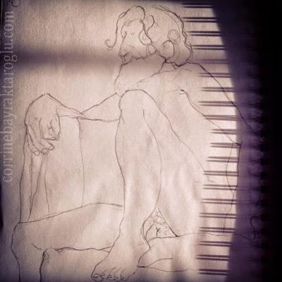 sitting nude drawing with shadows