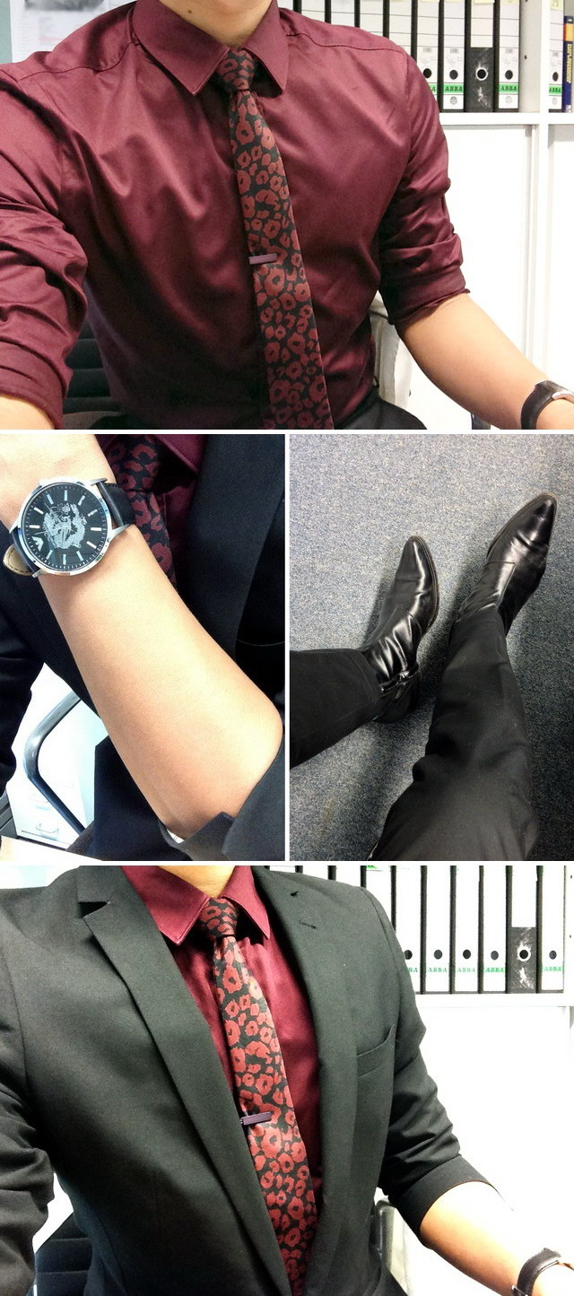 Zara shirt, Emporio Armani dragon watch, DSquared2 boots, The Tie Bar, Topman leopard tie, oxblood, maroon