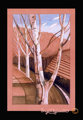 North East artist Ingrid Sylvestre Northeast art Durham Artist Ingrid Sylvestre Birches mixed media SOLD