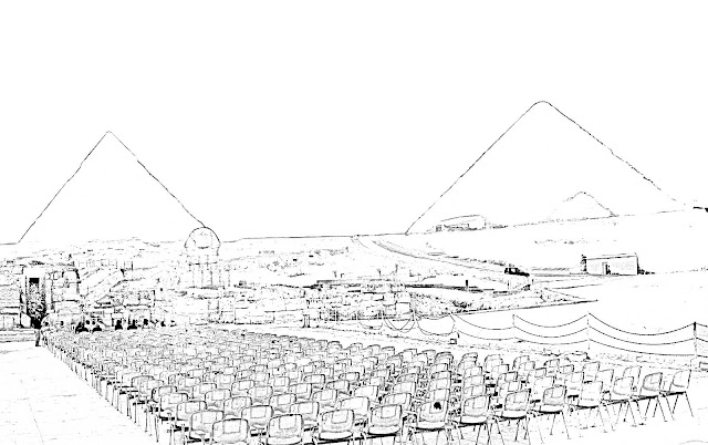 sketch of the two main pyramids of Giza