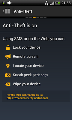 Norton Mobile Security: protecting device from theft