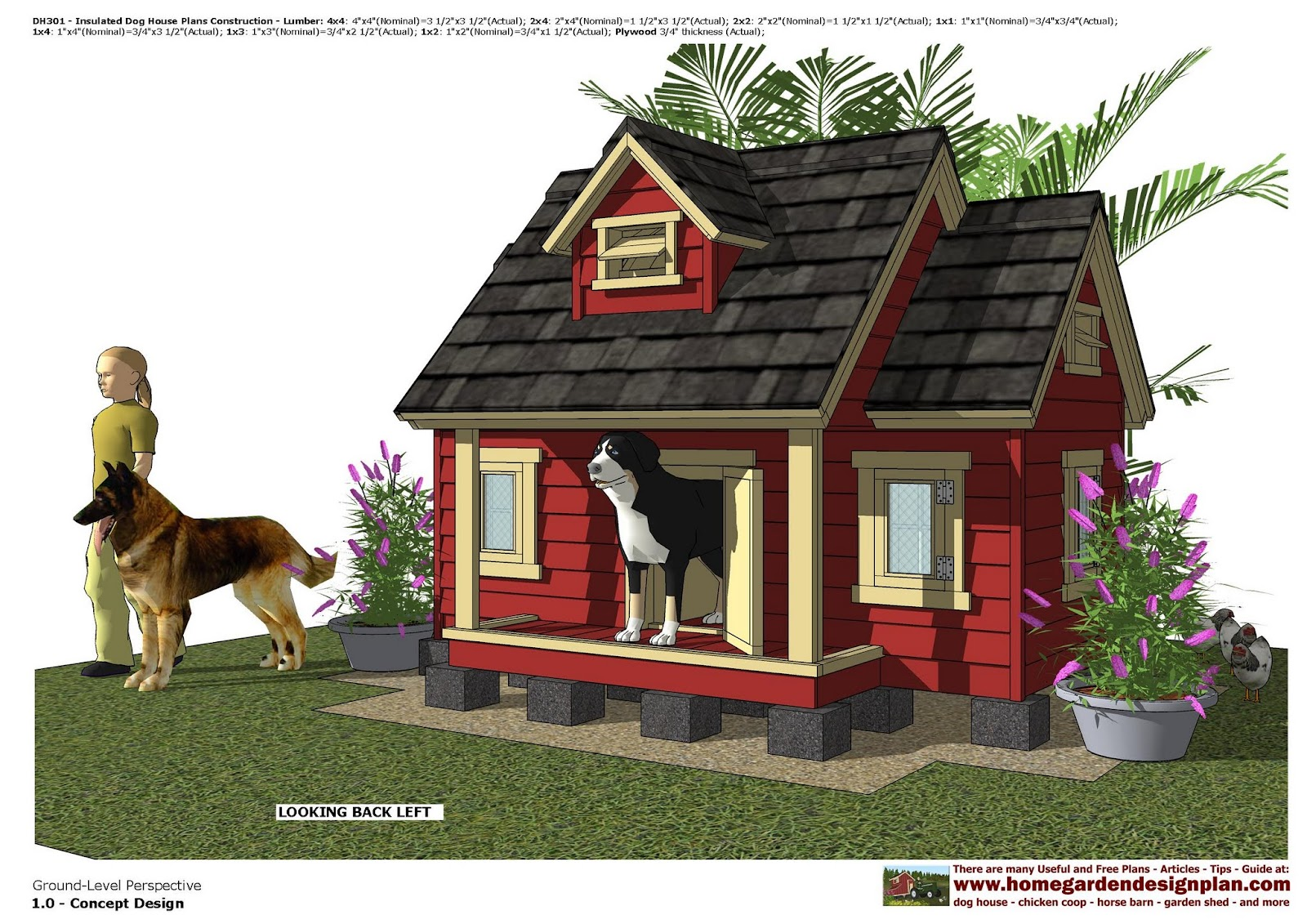 Home garden plans dh301 insulated dog house plans dog for Dog house layouts