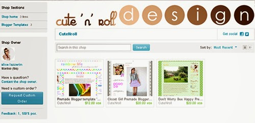 cute 'n' roll, shop, etsy, web design, illustrator, graphic, digital art, blogger, template