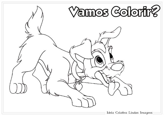 A Dama e o Vagabundo desenho para colorir
