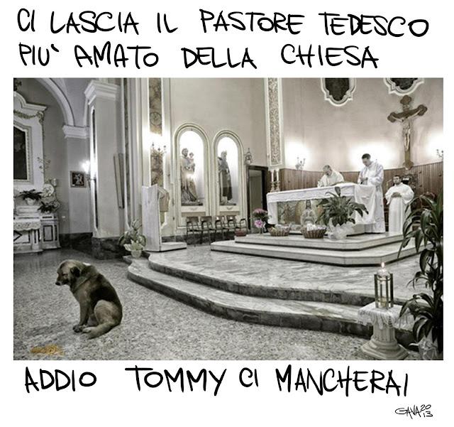 gavavenezia gava satira vignette caricature battuta tommy papa chiesa abbandono lascia ratzinger morte paura