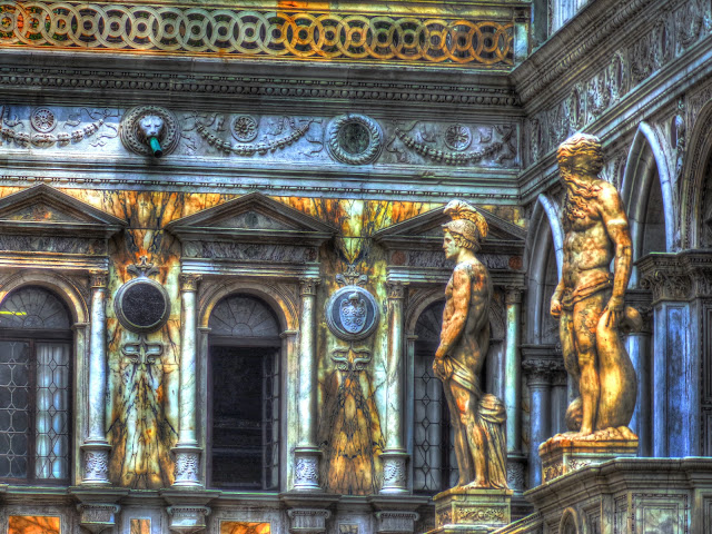 Mars and Neptune flanking the Scala dei Giganti (Giants Stair Case) - Court Yard of the Doge's Palace - Venice, Italy