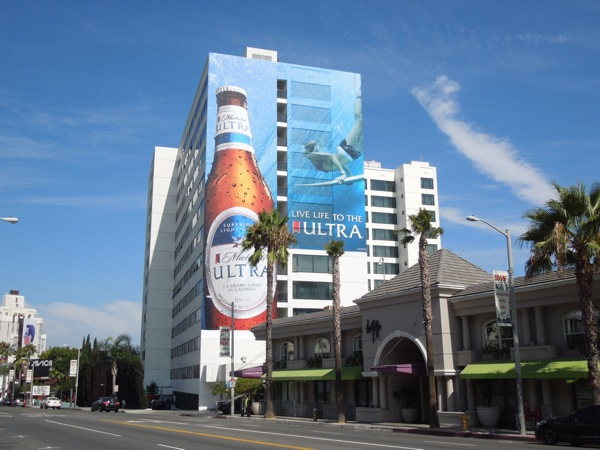 Giant Michelob Ultra surfer billboard Sunset Strip