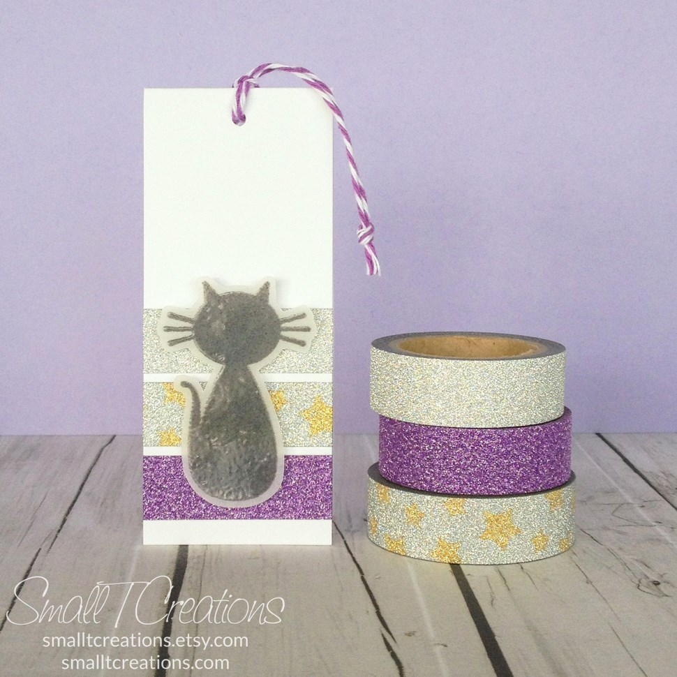 Halloween Glitter Washi Tape Tag | Small T Creations. Get the glitter washi tapes here: https://smalltcreations.etsy.com/