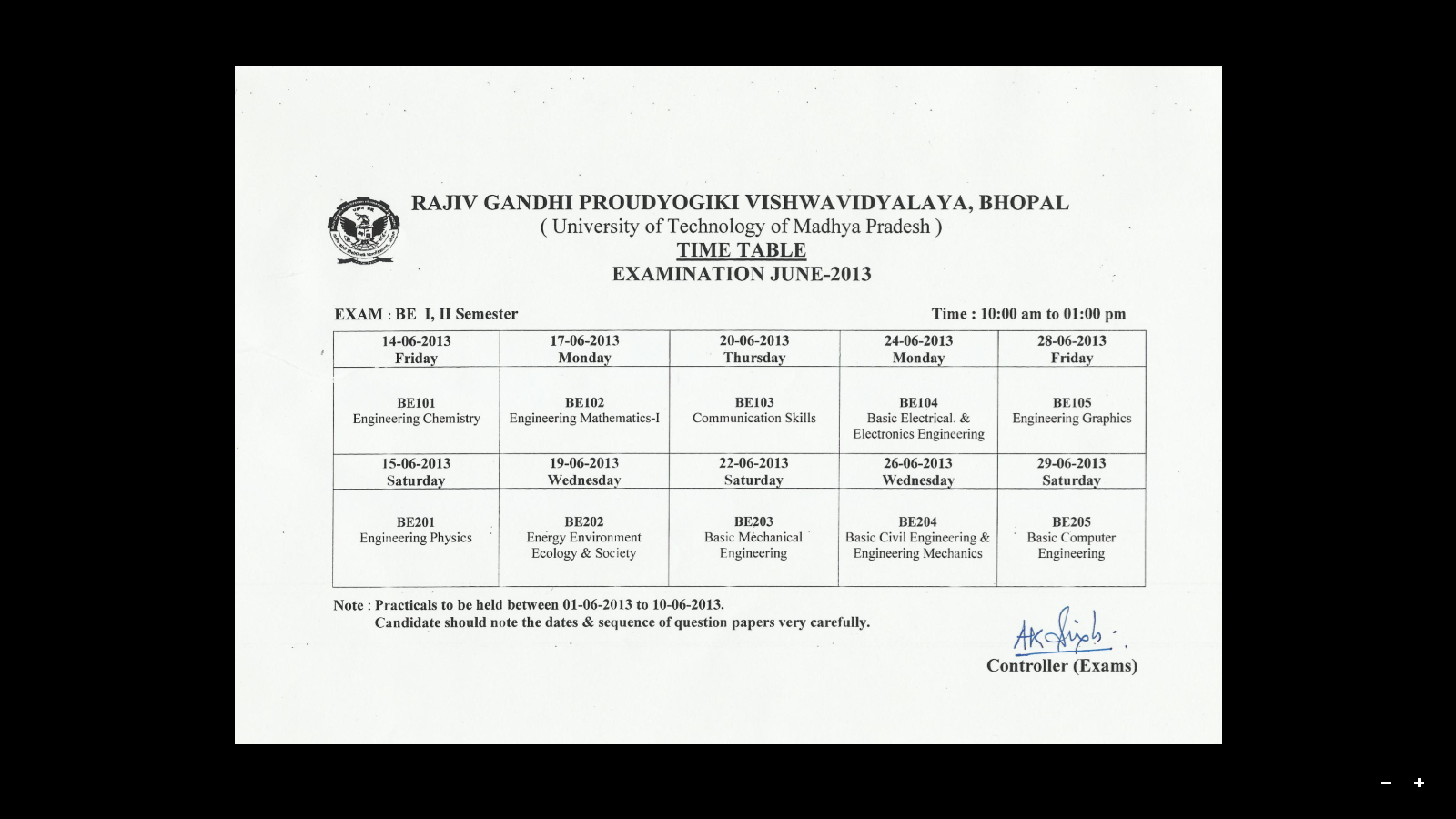 1st Diploma EC Sem Time Table