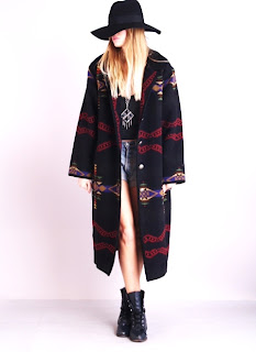 Vintage black Pendleton maxi coat with a multi-colored tribal print.