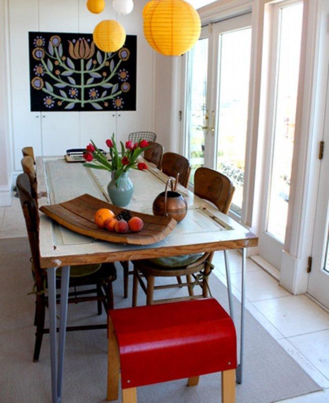 Add Legs Reclaimed From Old Broken Furniture To Door Complement Table