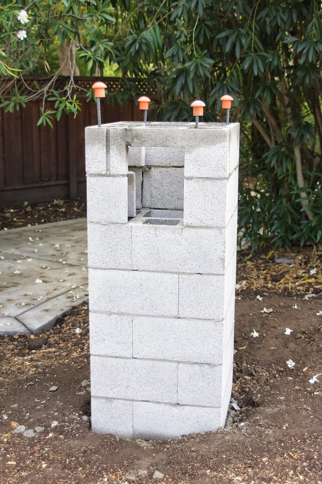 Cinder Block Pillars : Simply organized outdoor update stacked stone pillar