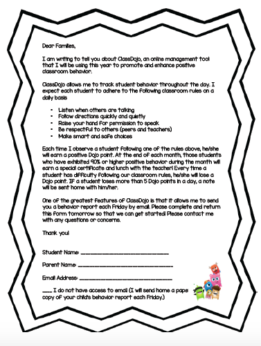 parent letter explaining the features of class dojo