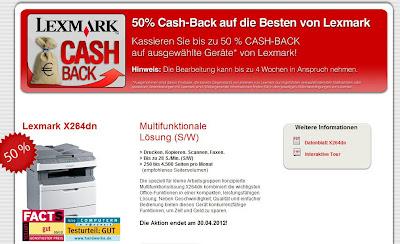 Multifunktionsdrucker Lexmark X264dn mit 50 Prozent Cashback ab rund 135 Euro