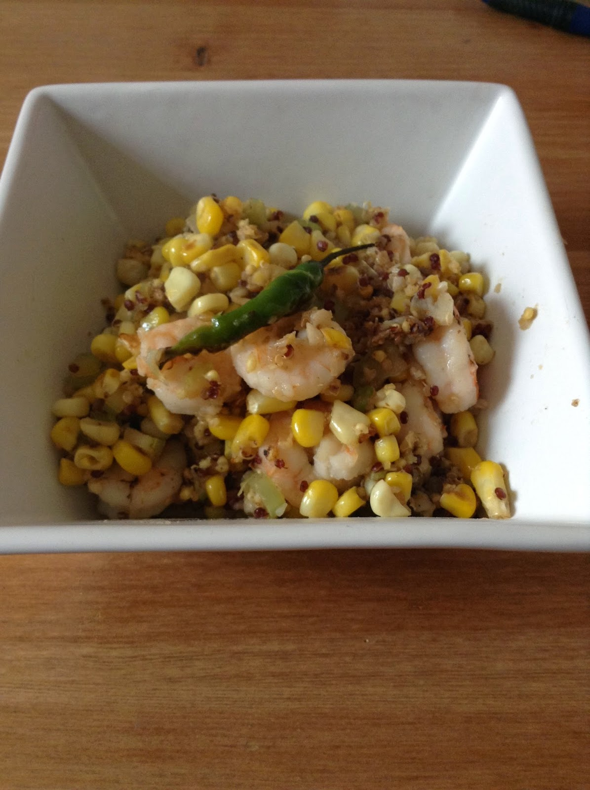 A stir-fried grain mix of quinoa, buckwheat and millet supplemented with shrimp