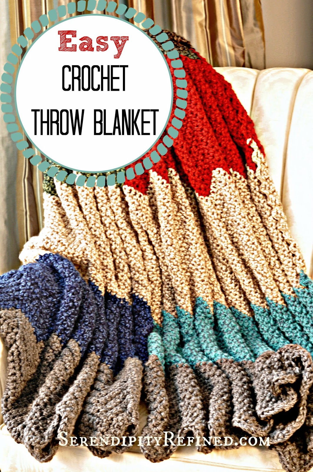 Serendipity Refined Blog: Easy Crochet Throw Blanket Pattern