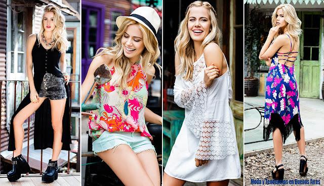 Moda primavera verano 2016. Reina Ana vestidos, camisas musculosas, shorts primavera verano 2016.