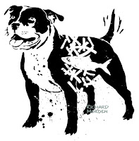 stencil art of a Staffordshire Bull Terrier