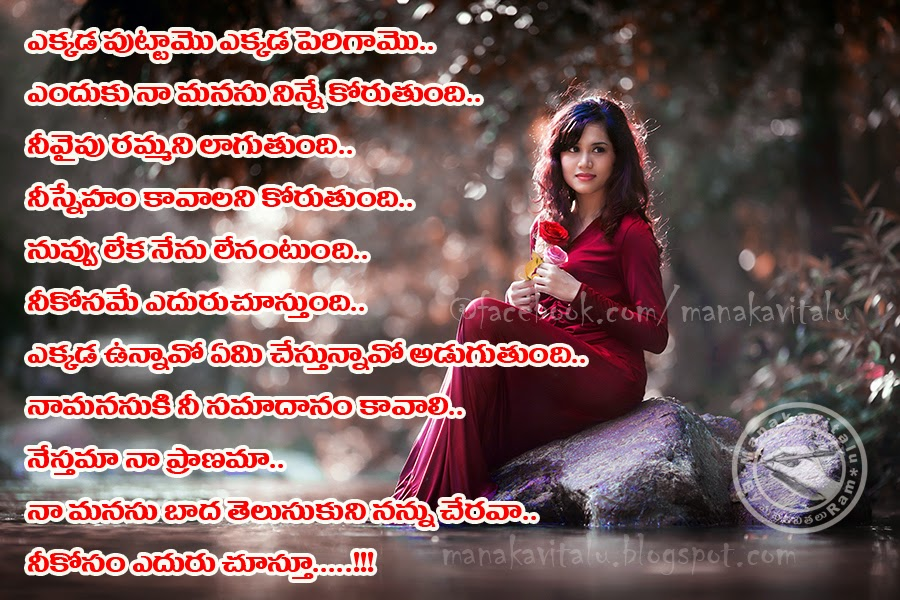 a beautiful Telugu love quote on images