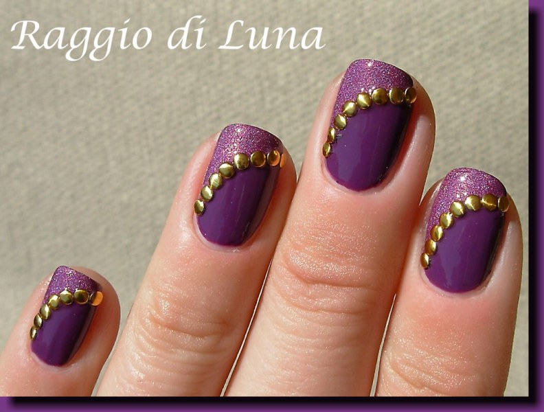 Raggio Di Luna Nails Round Golden Nail Art Studs On Double Purple