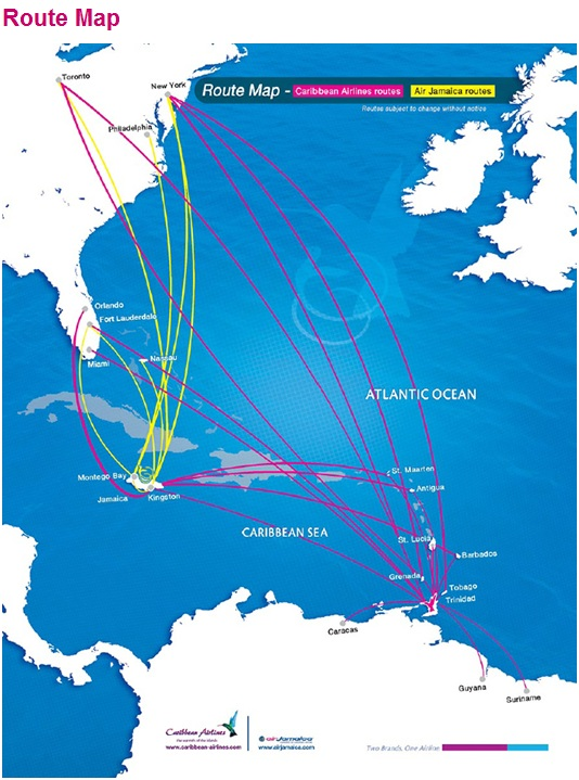 airlines central: Air Jamaica routes map
