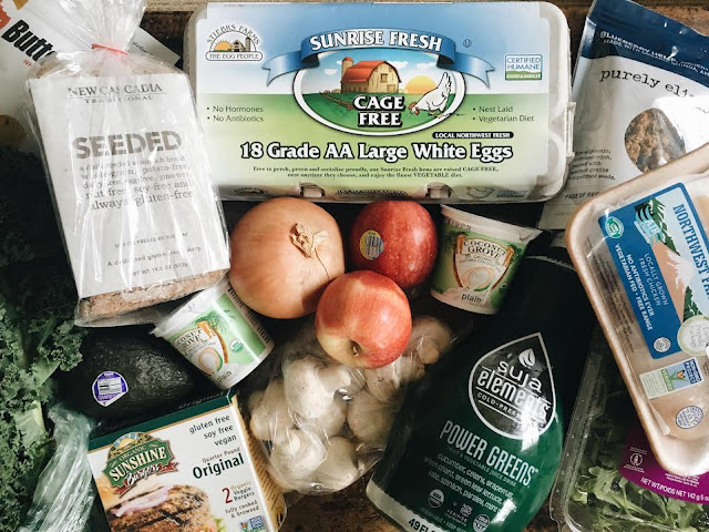 new cascadia bread, sunshine burgers, suja juice and purely elizabeth granola