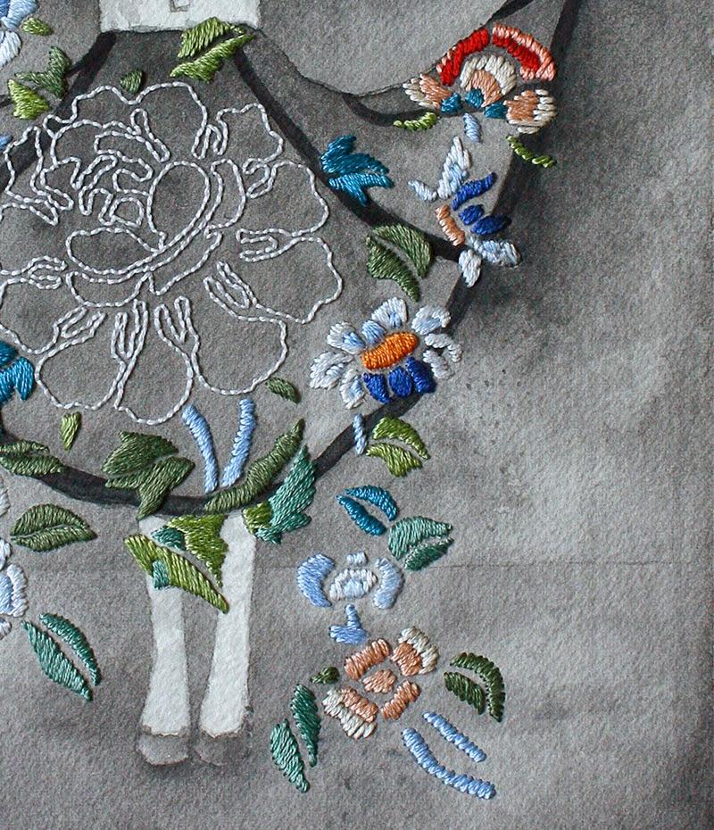 Izziyana Suhaimi ilustradora que borda sobre papel