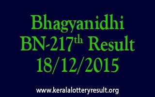 Bhagyanidhi BN 217 Lottery Result 18-12-2015