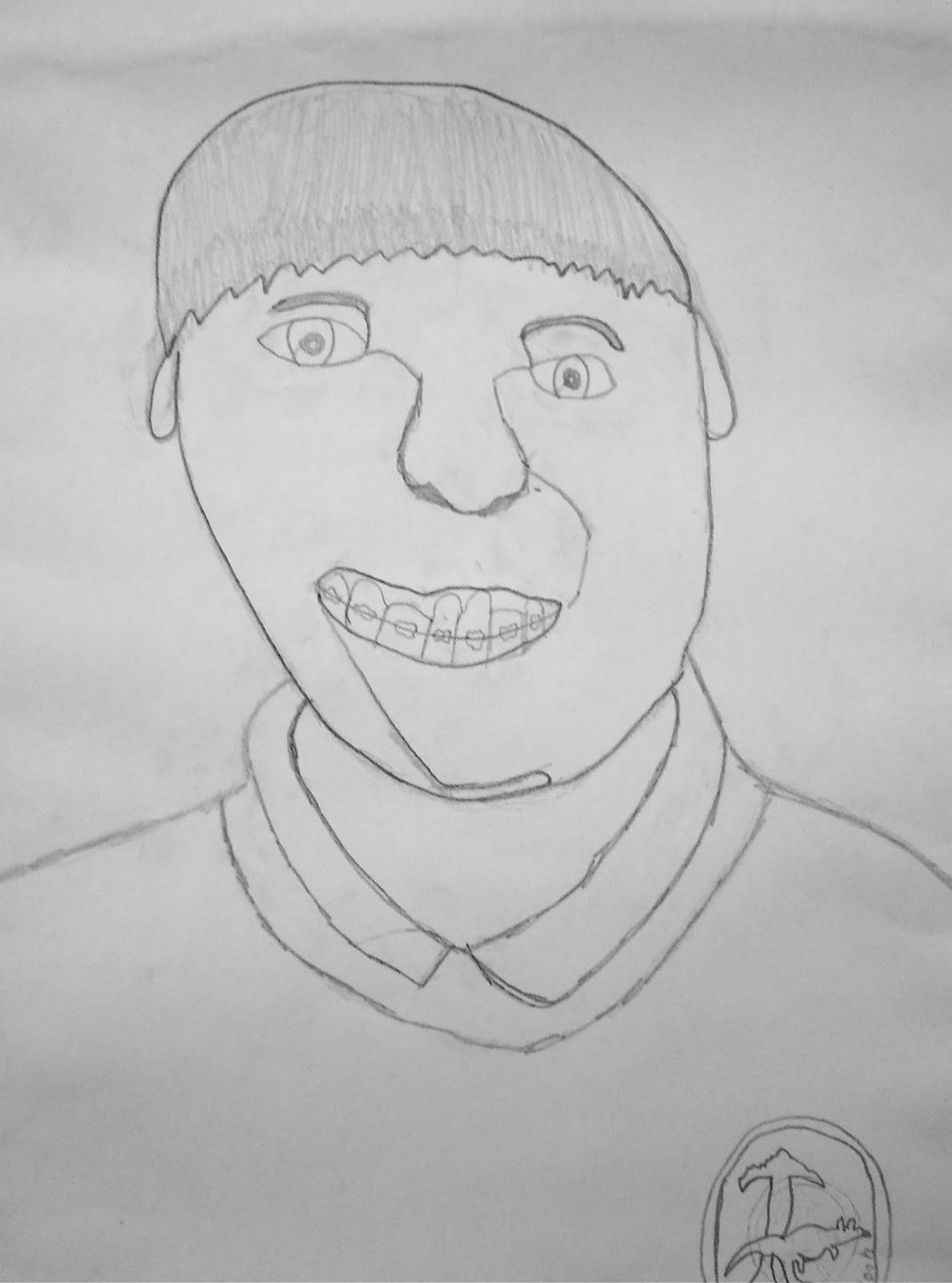 Contour Line Drawing Self Portrait : Use your coloured pencils contour line self portraits