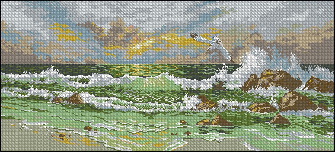 Вышивка пейзаж морской 39