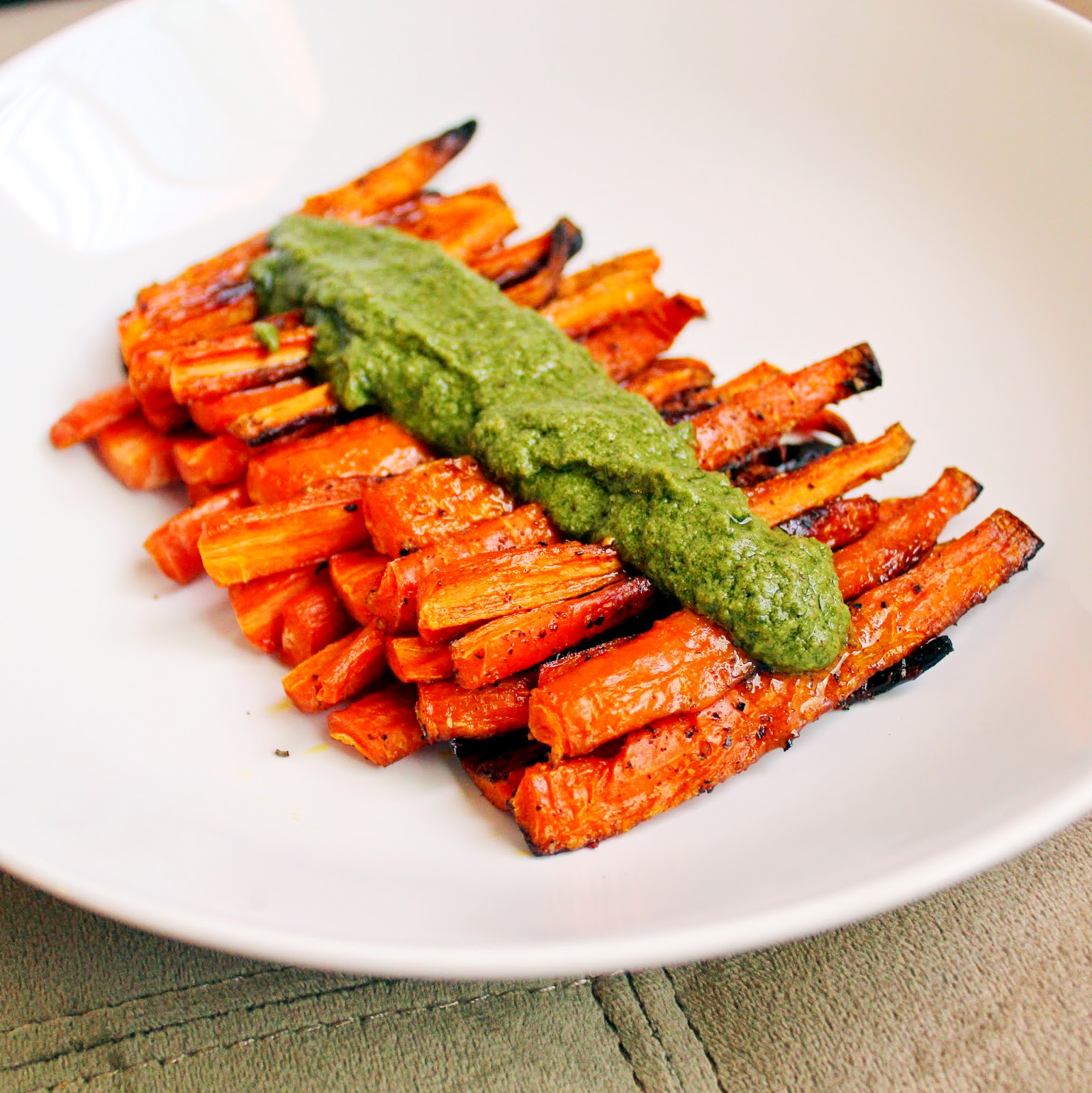 roasted carrots carrot green pesto
