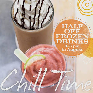 half off frozen drinks at panera bread in august