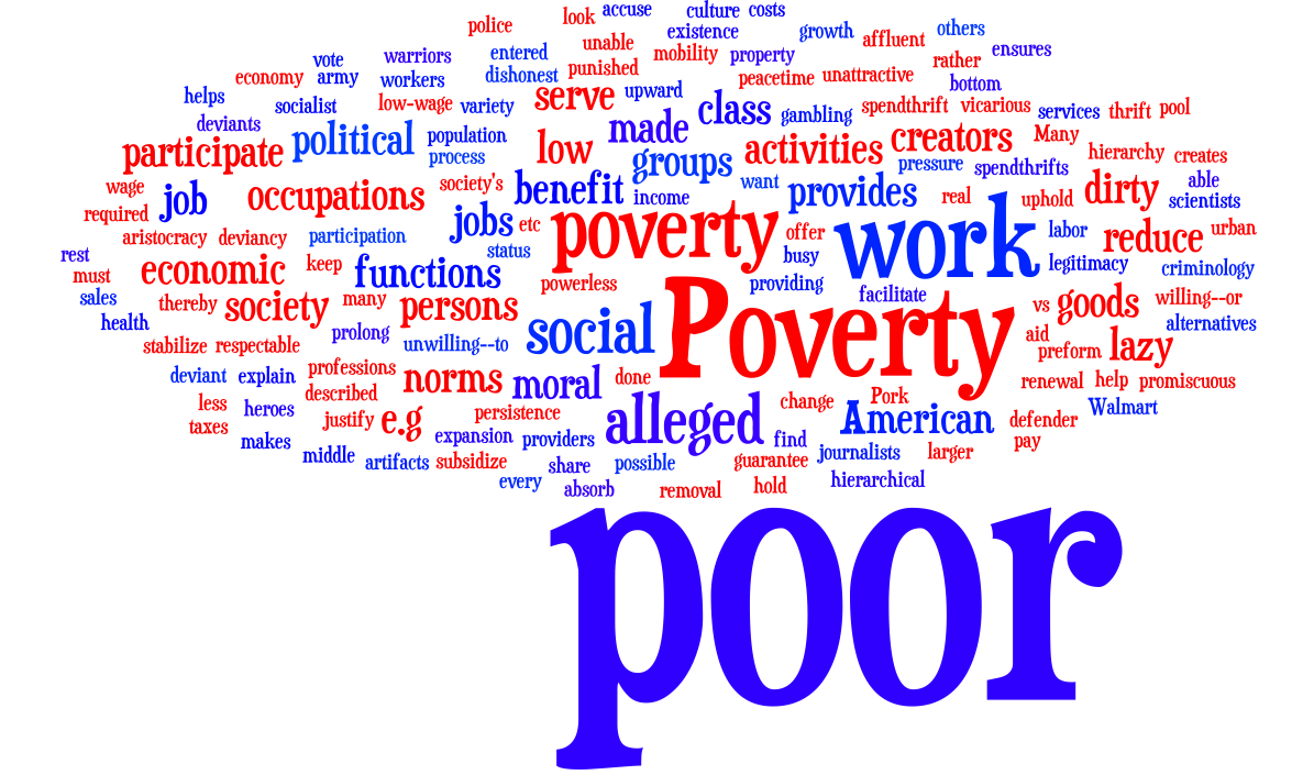 gans the functions of poverty In the uses of poverty: the poor pay all herbert j gans explains how the poor plays and provide an important part in society as one of the most riches countries, those who live in poverty and work for a living are actually helping those with higher privileges thrive better.