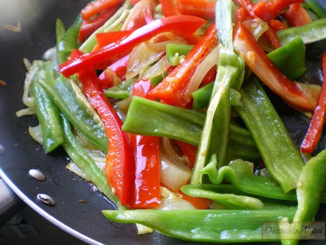 Bacalao a la roteña, sofrito base de verduras