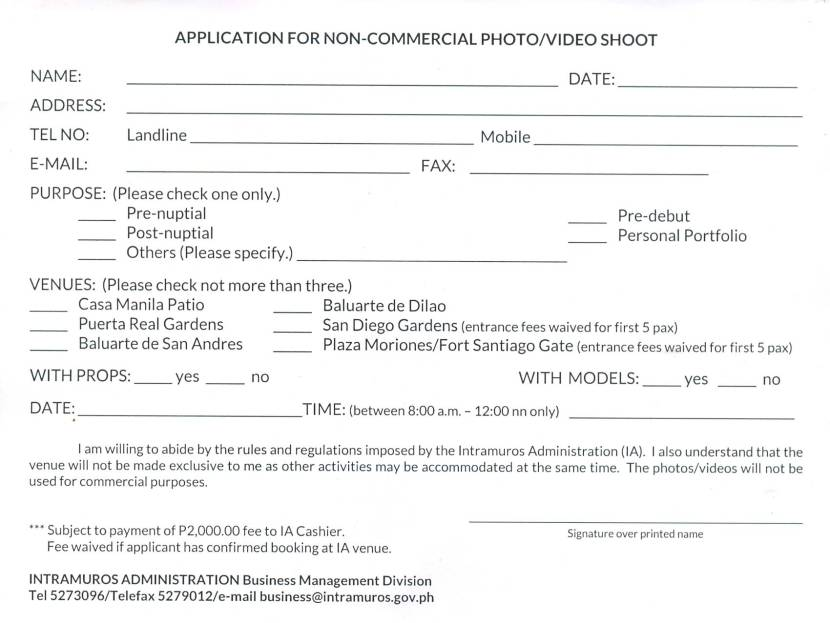 How To Apply Permit For A Photoshoot In Intramuros Shy On Foot