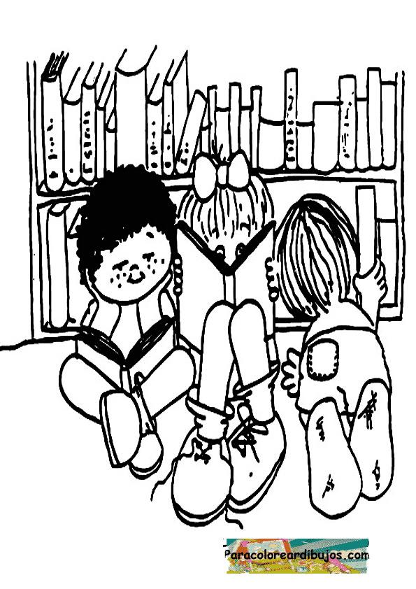 niños leyendo para colorear