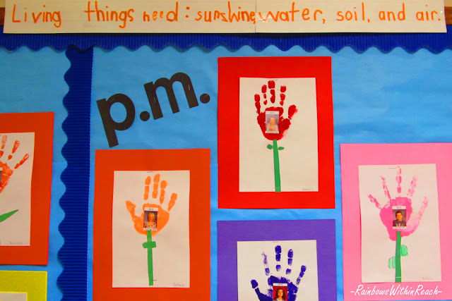 photo of: Bulletin Board for Mother's Day, Spring bulletin board, Handprint bulletin board
