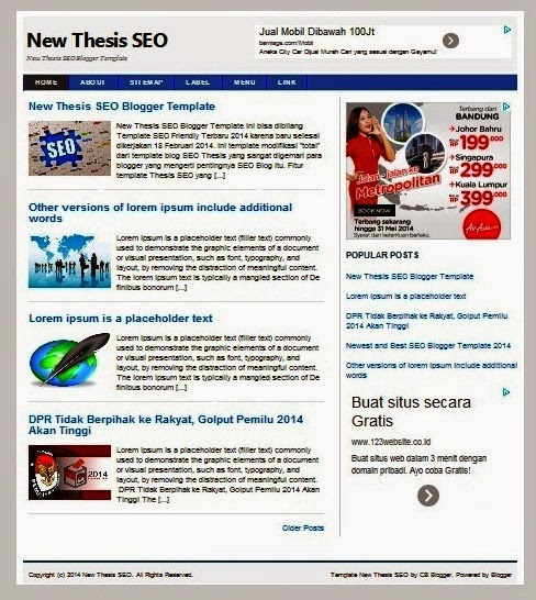 New Thesis SEO Blogger Template